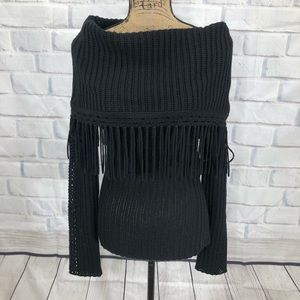 Elie Tahari Off The Shoulder Tasseled Sweater